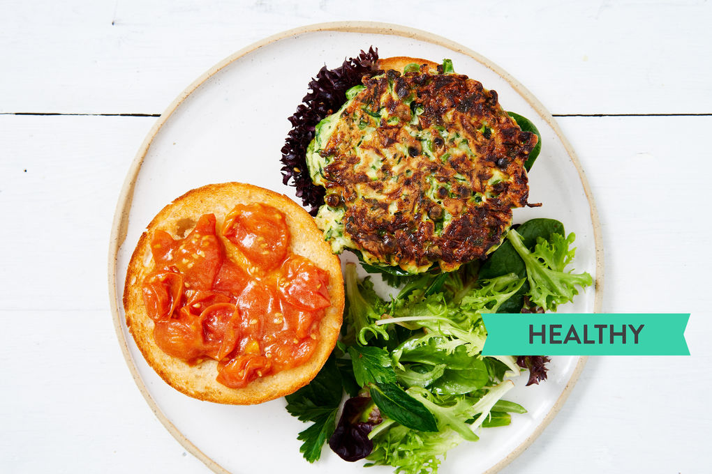 Minted Zucchini-Pea Burgers with Quick Tomato Relish