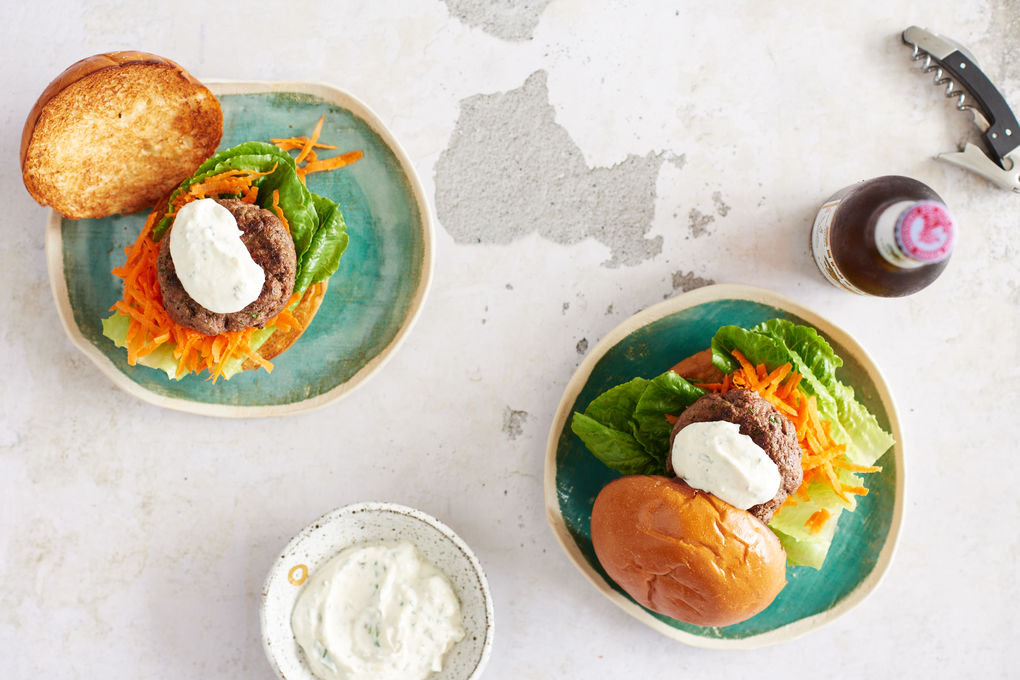 Spicy Beef Burgers with Garlic Tahini Yoghurt