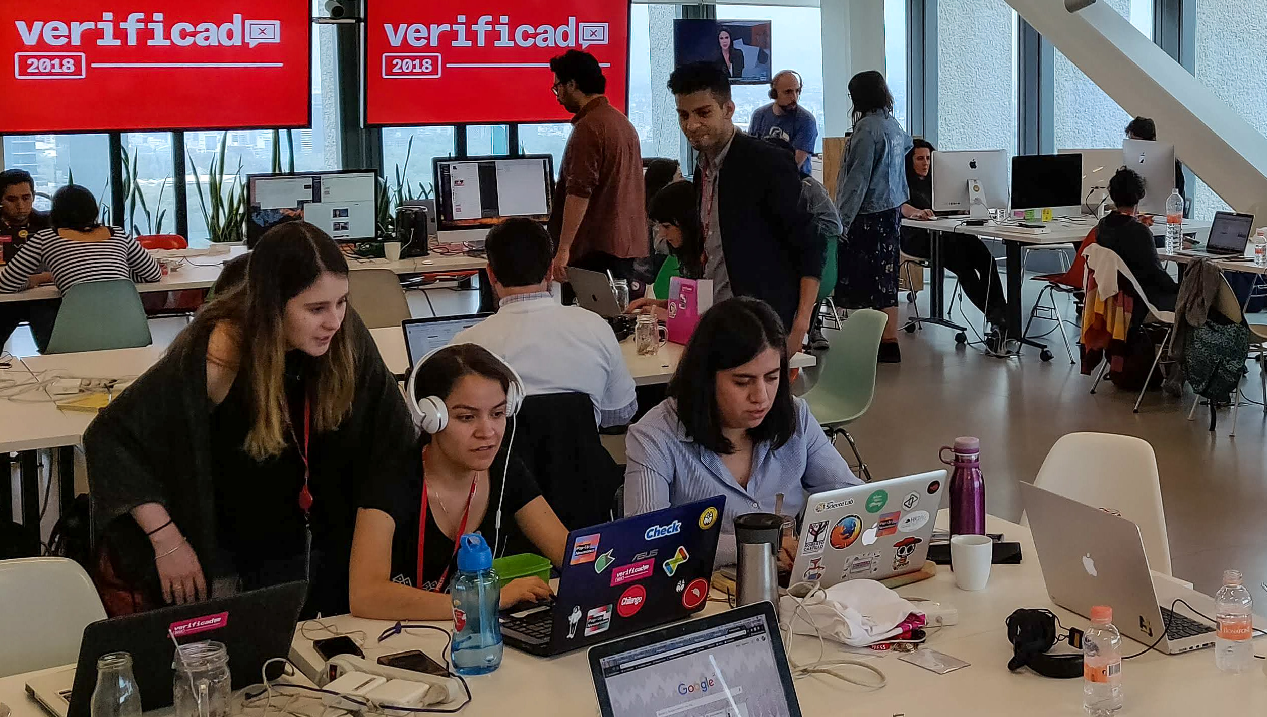 The Verificado 2018 newsroom, developed by Pop Up Newsroom, AJ+ and Animal Politico. Photo by Fergus Bell.