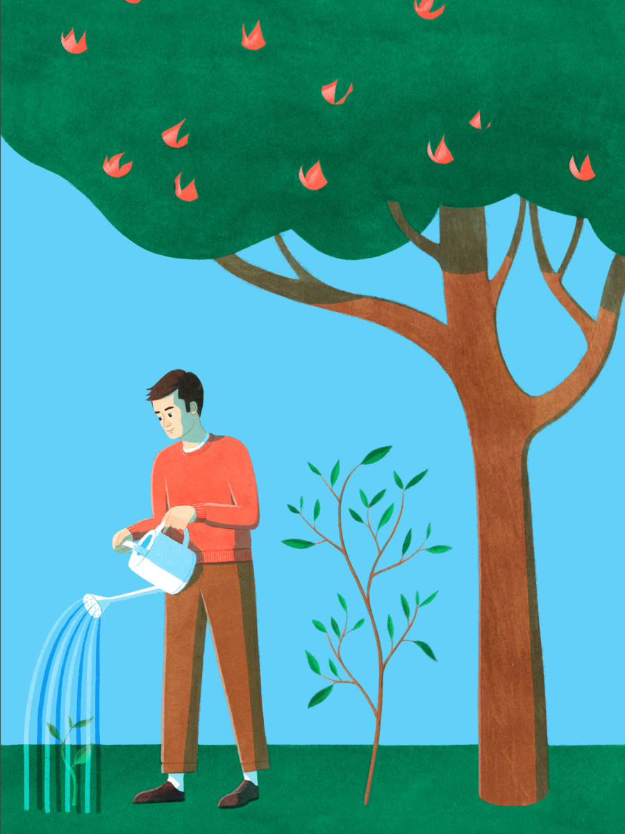 Illustration of a man watering a small tree, with a larger tree and a mature tree behind him.