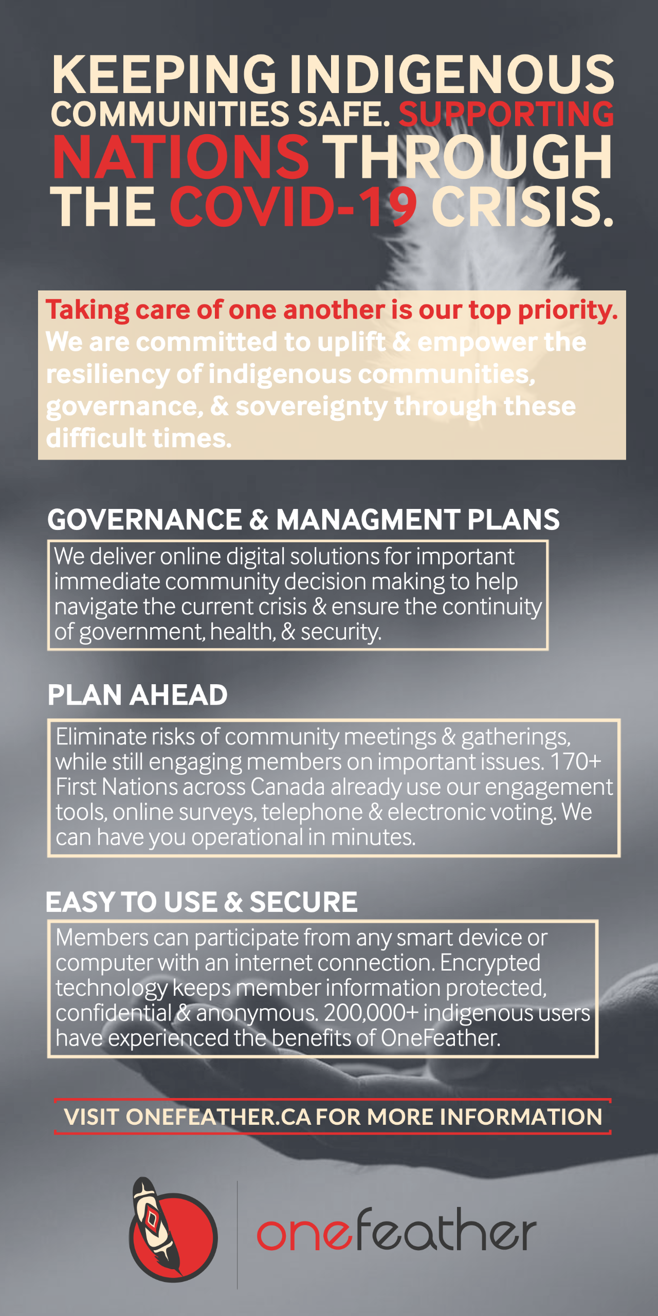 Keeping Indigenous communities safe through the COVID-19  crisis & supporting Nations.