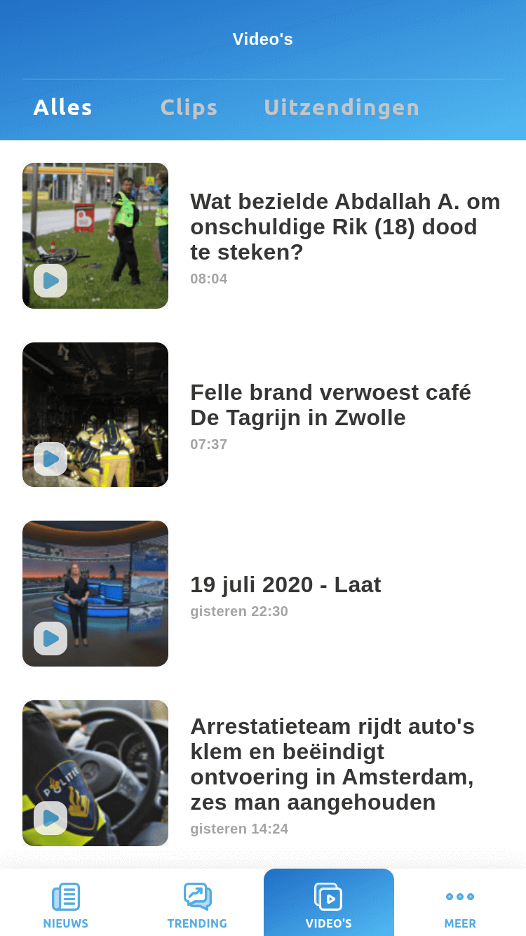 News app - videos screen