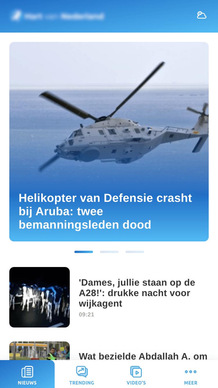 News app - home screen