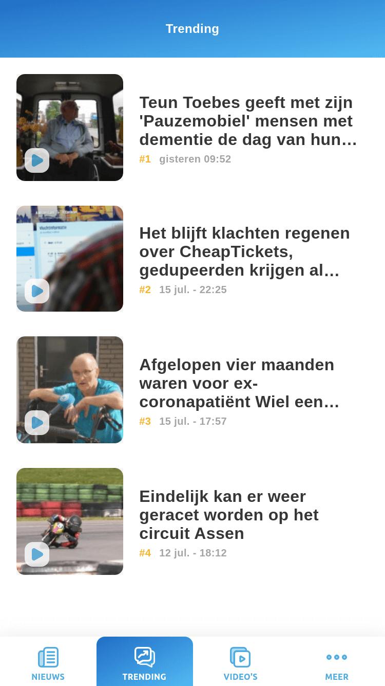 News app - trending screen