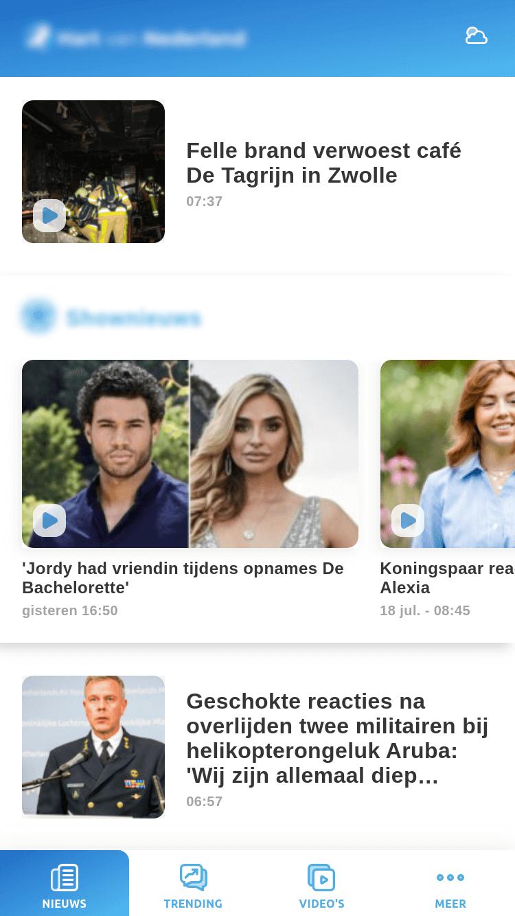 News app - home screen (slider)