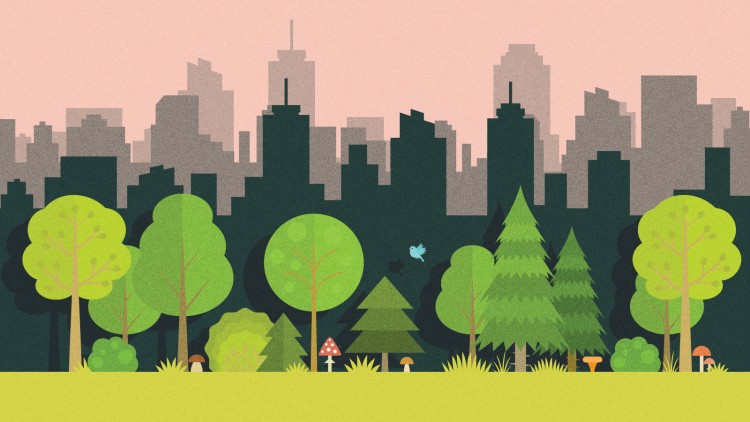 Illustration of trees in a park and city skyline