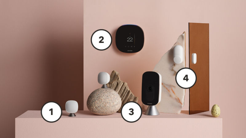 smart home connected hub product suite on pink pedestal.