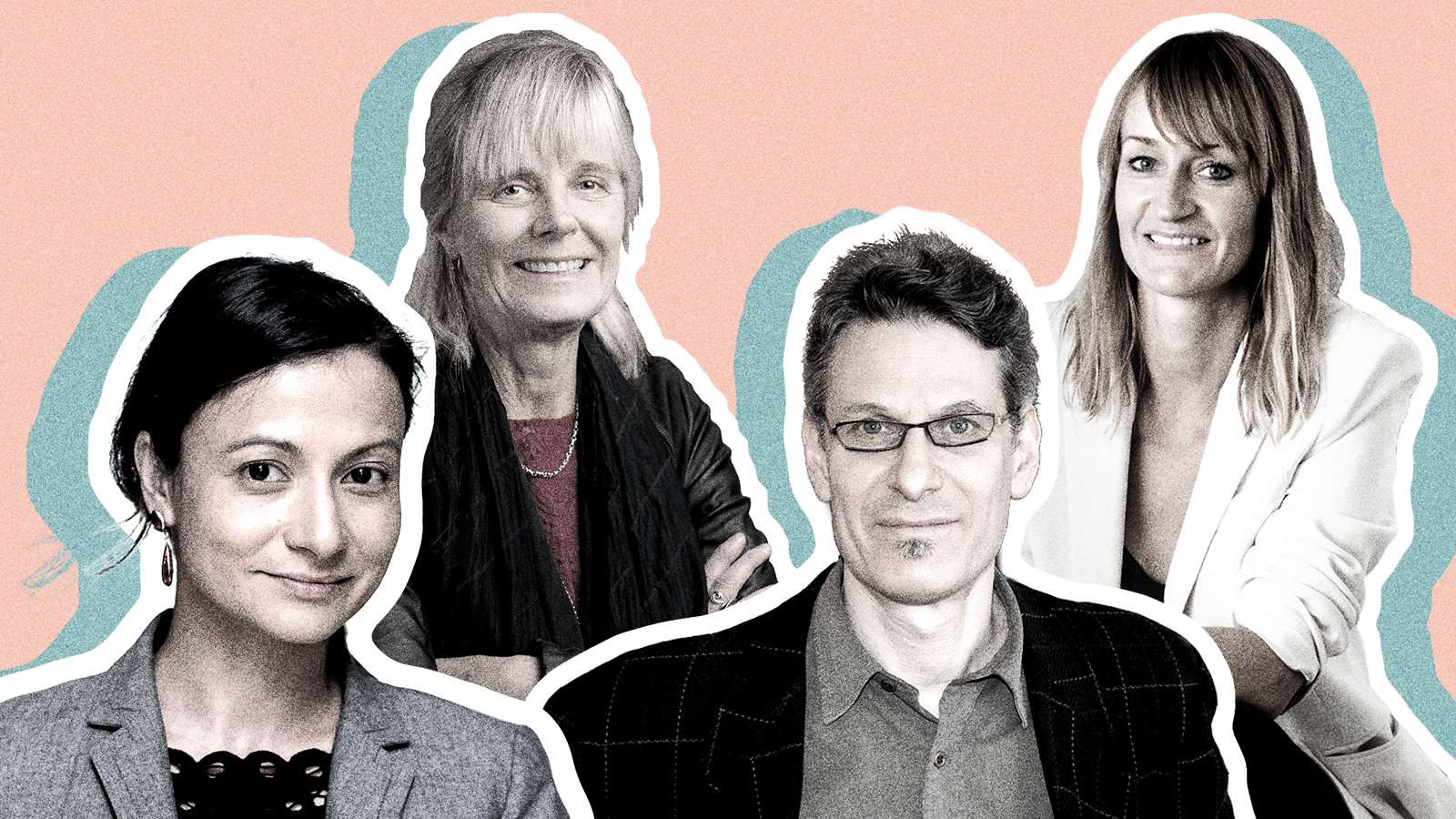Four climate change experts with a blue and pink background