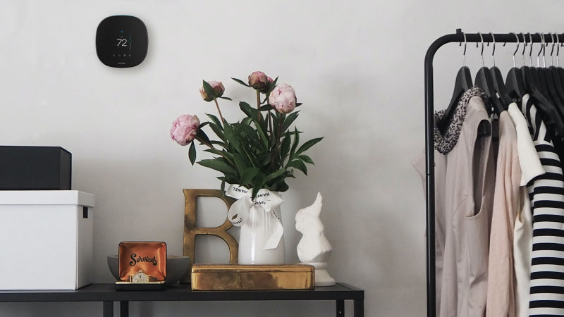 ecobee thermostat on the wall set next to flowers in vase