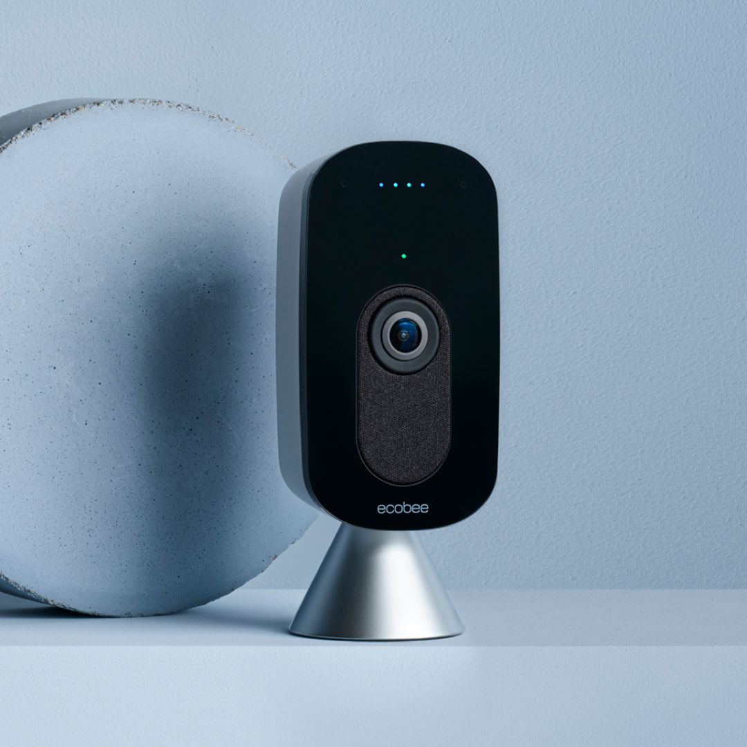 ecobee SmartCamera on a blue background.