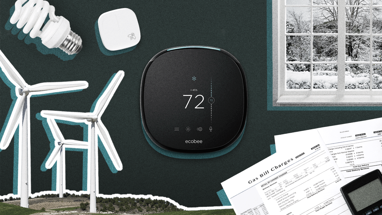 Picture of a thermostat in the centre, an ecobee Room Sensor, an LED light bulb, a wind panel, and energy bills