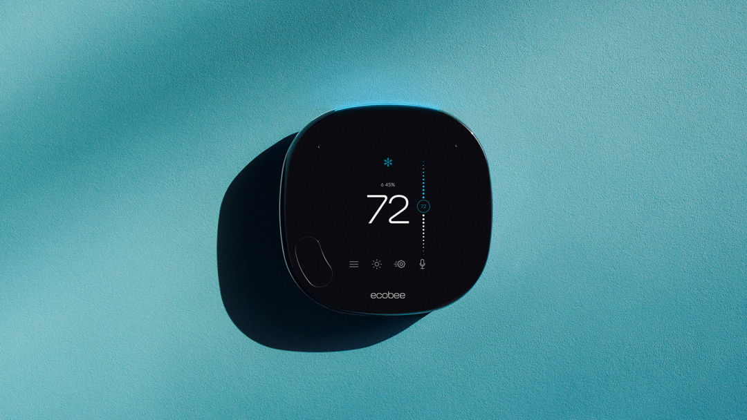 ecobee SmartThermostat with voice control on light blue background