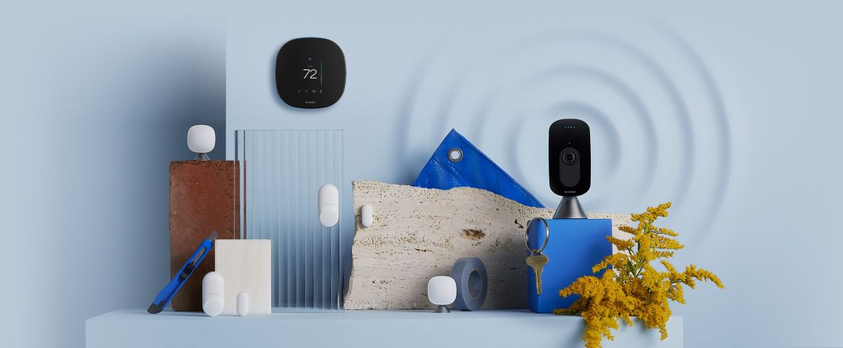 ecobee product suite on blue background