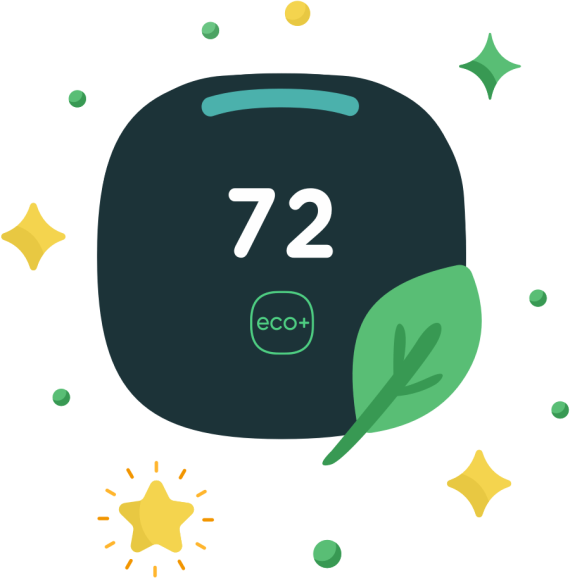 Illustration of an ecobee smart thermostat with a leaf overlapping the face of it and displaying a temperature reading of 72 degrees fahrenheit