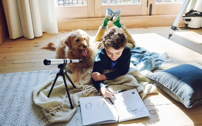"""Good boy"" dog watches as his brother scribbles in his workbook"