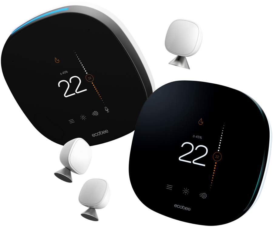 ecobee SmartThermostat with voice control, ecobee3 lite, three SmartSensor remote temperature sensors.
