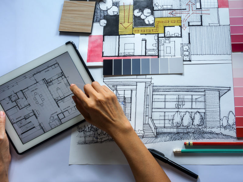 An aerial view of home design plans.