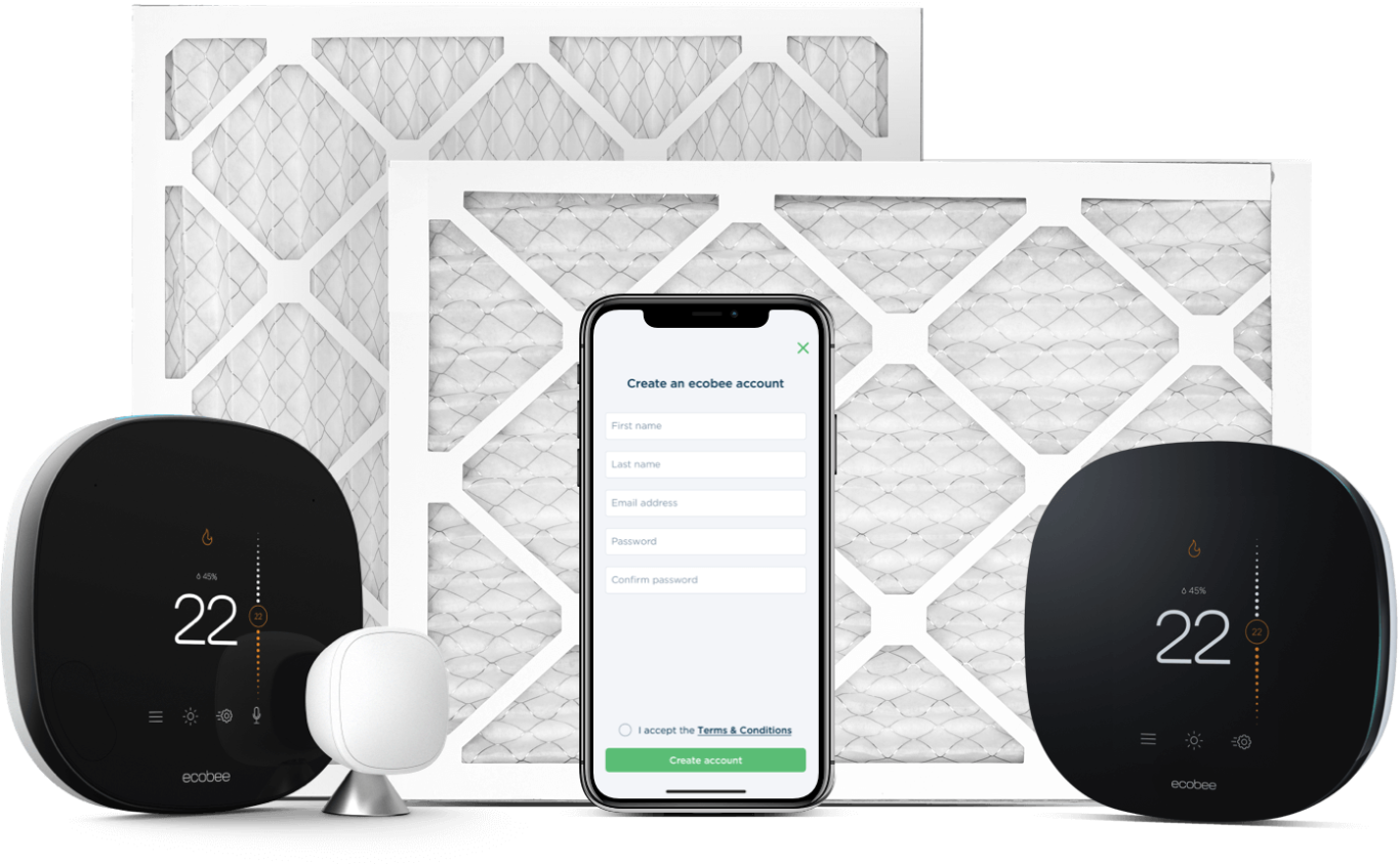 Air filters sit behind the ecobee SmartThermostat with voice control, a smart phone, and the ecobee3 lite thermostat.