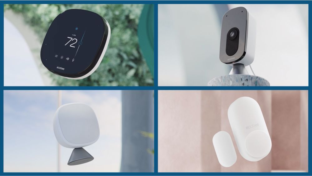 An image split into four quadrants. In the top left quadrant is a SmartCamera. In the top right quadrant is a SmartSensor. In the bottom left quadrant is a SmartSensor for doors and windows. In the bottom right quadrant is a SmartThermostat