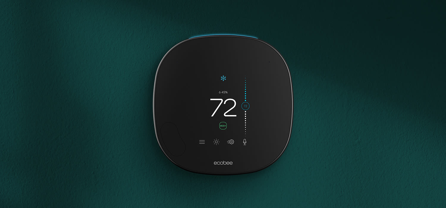 ecobee thermostat on a green background.