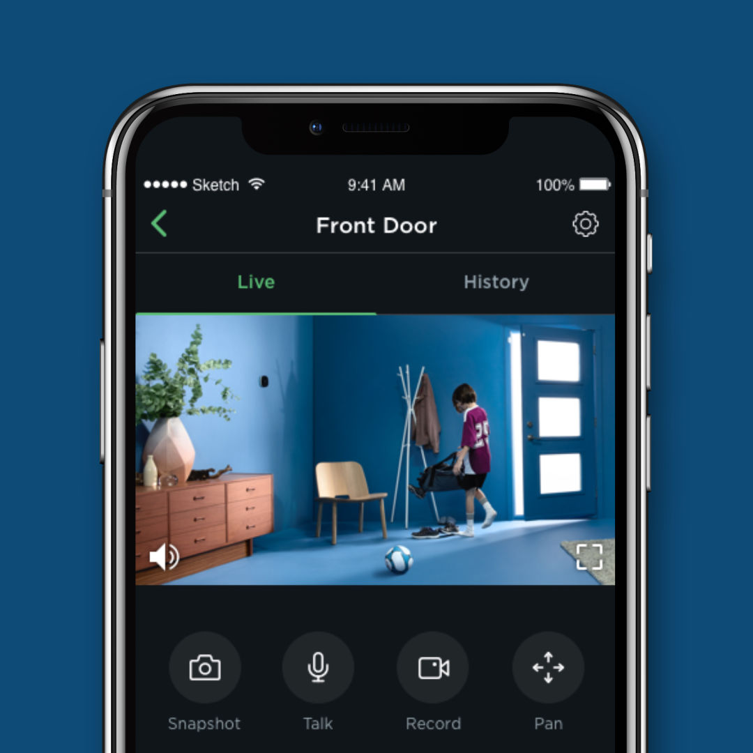 A phone screen shows a view of a child leaving a house in the ecobee app.