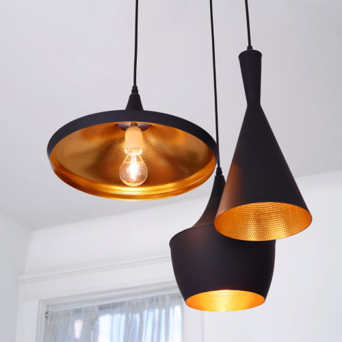 Black and gold modern pendant ceiling fixture.