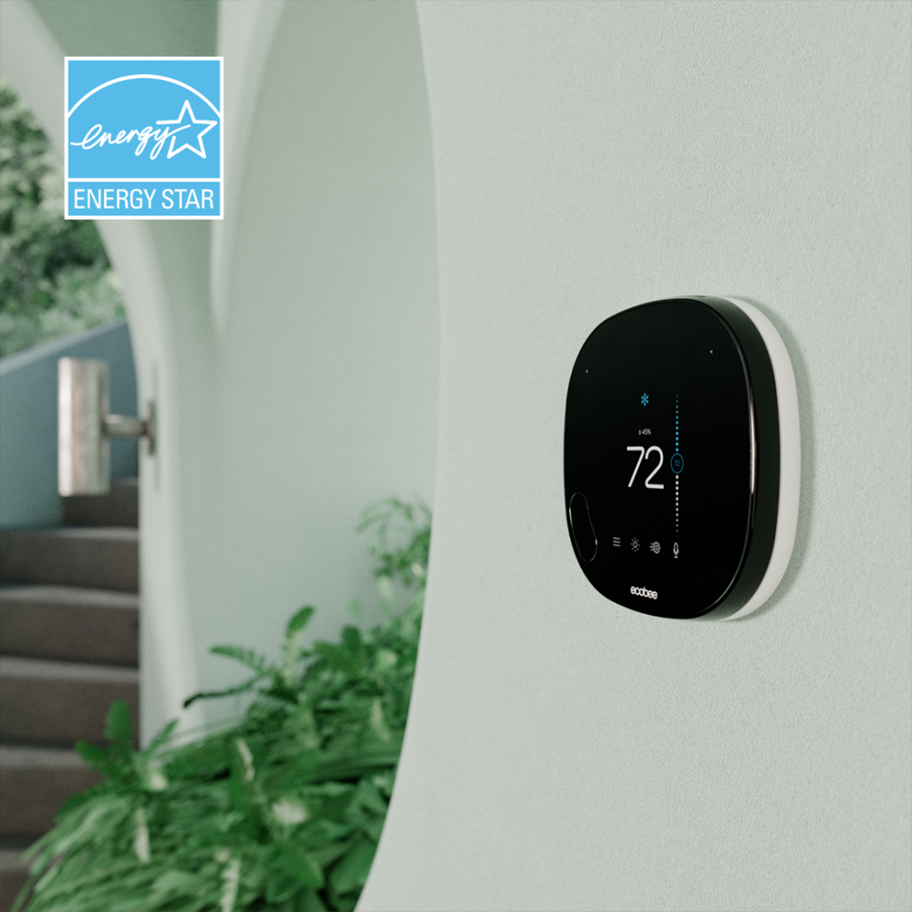 Energy star logo with smart thermostat on wall