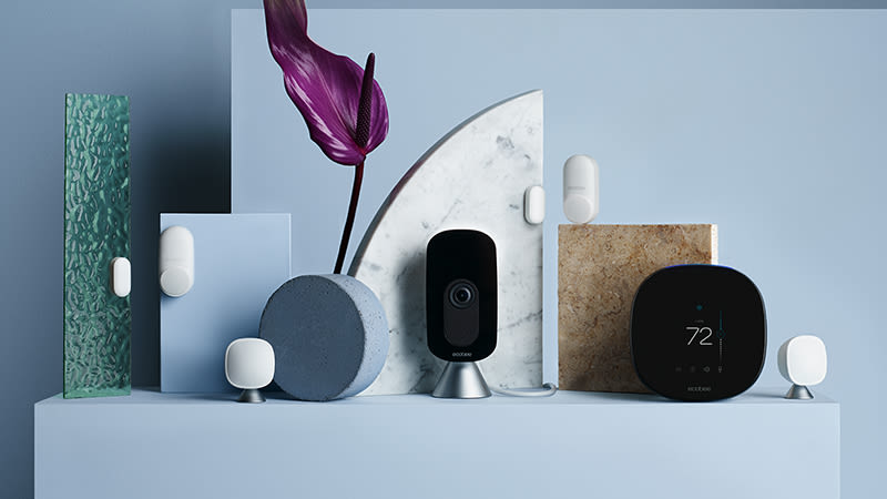 ecobee Total Home Comfort and Security Bundle. Bundle includes these ecobee devices: SmartThermostat with voice control, SmartCamera, two SmartSensors, and two SmartSensors for doors and windos.
