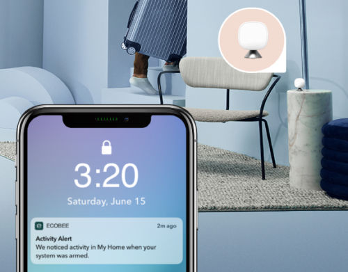 A phone screen shows a notification for an activity alert. In the background, an ecobee SmartSensor picks up someone walking through a room.