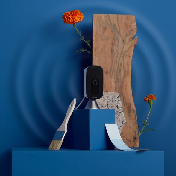 ecobee SmartCamera with voice control on a blue background