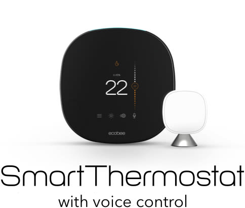 The ecobee SmartThermostat with voice control and a SmartSensor.