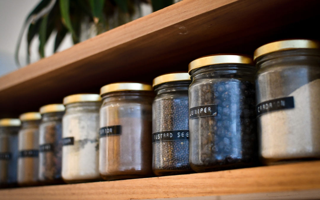 Image of organized spice rack.