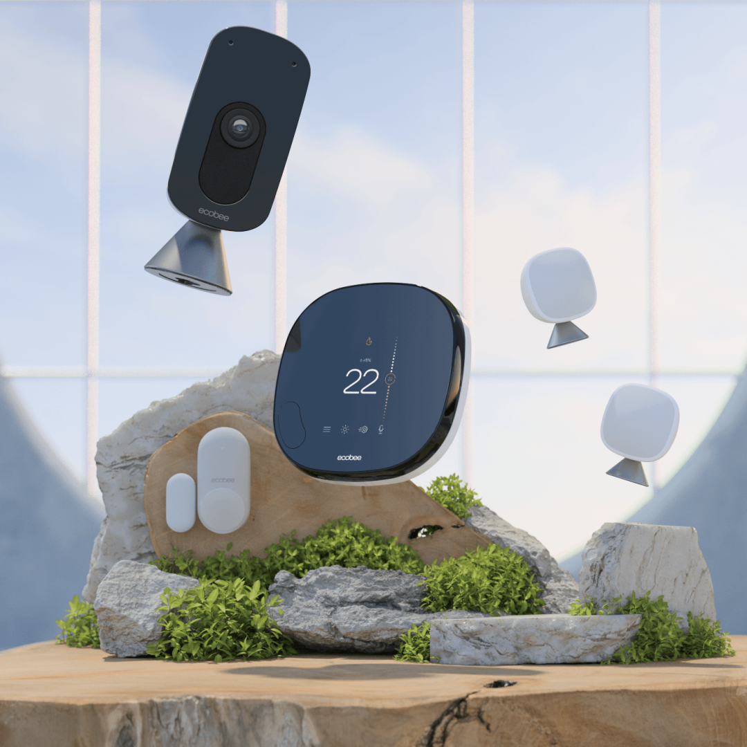 ecobee SmartThermostat (centered) flanked by SmartCamera, two SmartSensors, and one SmartSensor for doors and windows contact sensor floating on dreamscape background.