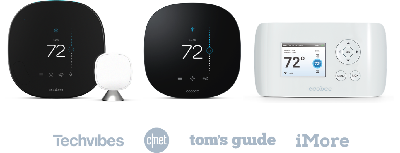 The ecobee SmartThermostat with Voice Control, ecobee3 lite, and ecobee EMS Si with the logos for Techvibes, CNet, Tom's Guide, and iMore underneath.