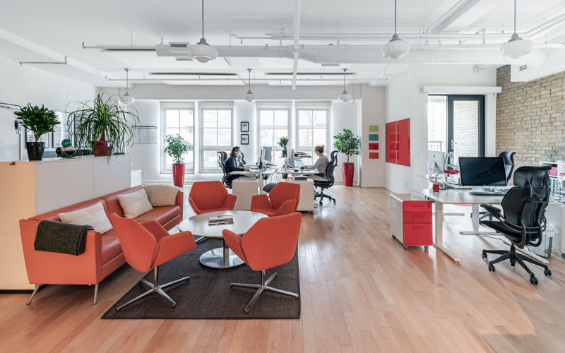 The orange upholstery, the dark brown rugs, plants, light natural wood floors, and white walls in this modern office are the perfect blend of materials and tones, bringing harmony to this modern open concept office.