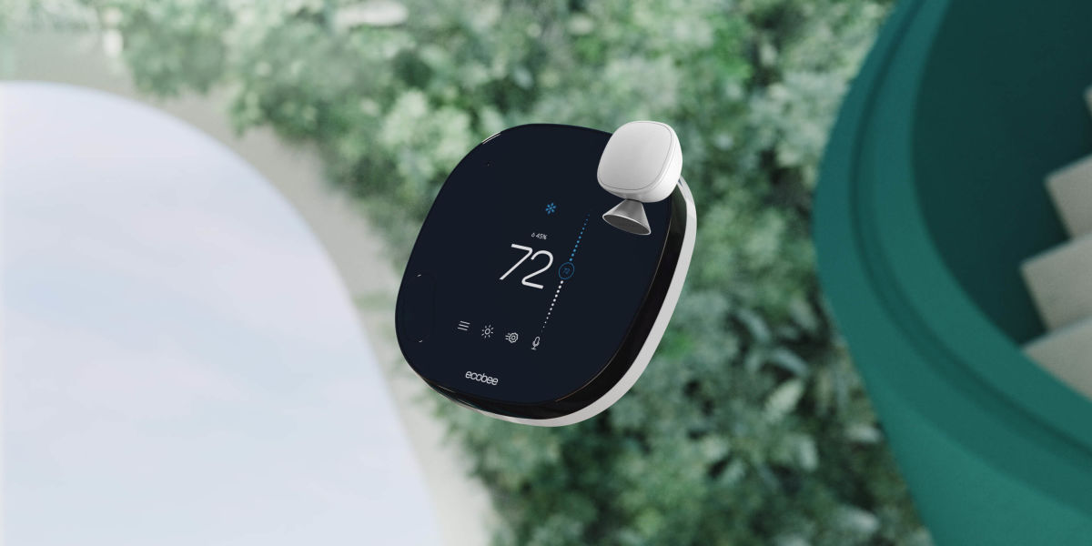 Smart Thermostat and Smart Sensor floating on an abstract background of green metal and lush plants.