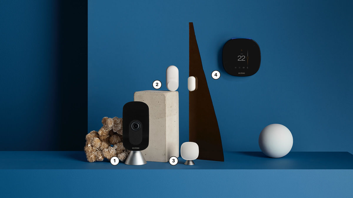 smart camera smart thermostats and smart sensors in a product array.