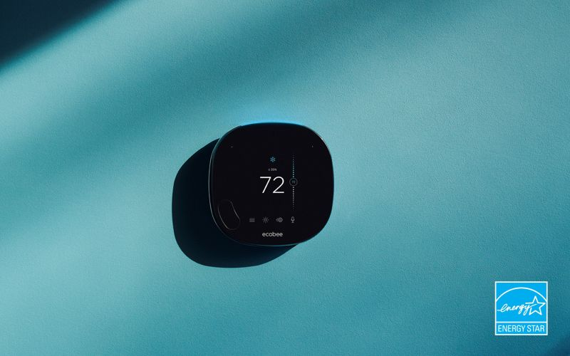 ecobee SmartThermostat with voice control on blue background with Energy STAR logo in bottom-right corner