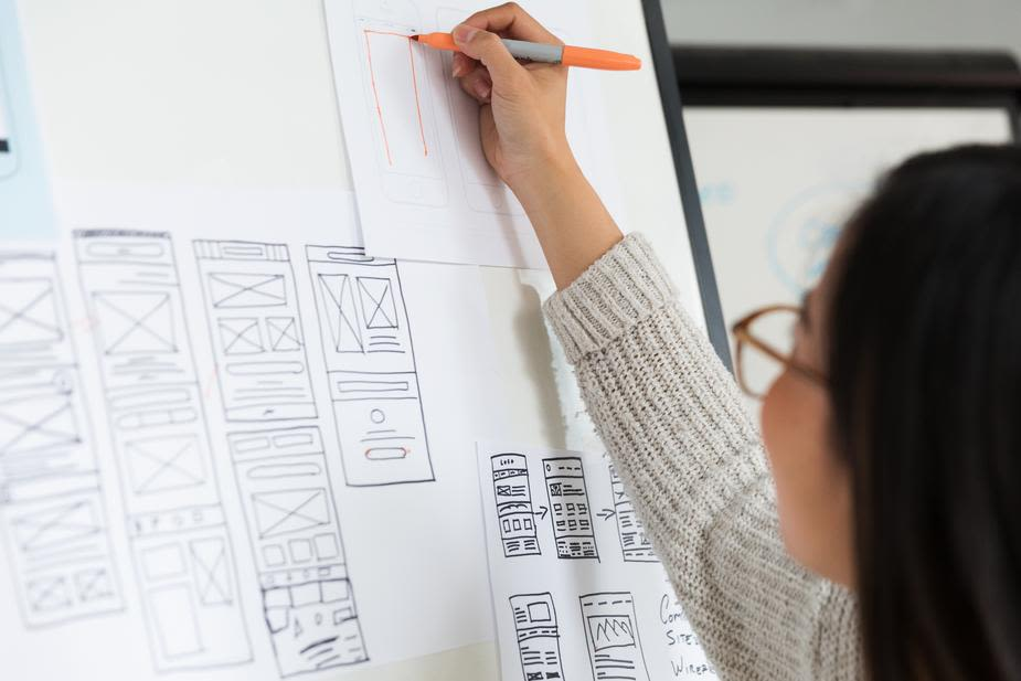 Woman drawing diagrams on a whiteboard.