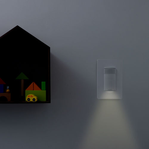 The ecobee Switch+'s nigh light shining a light in the darkness.
