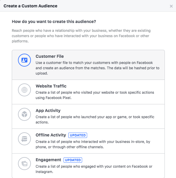 Create Custom Audience, Customer File