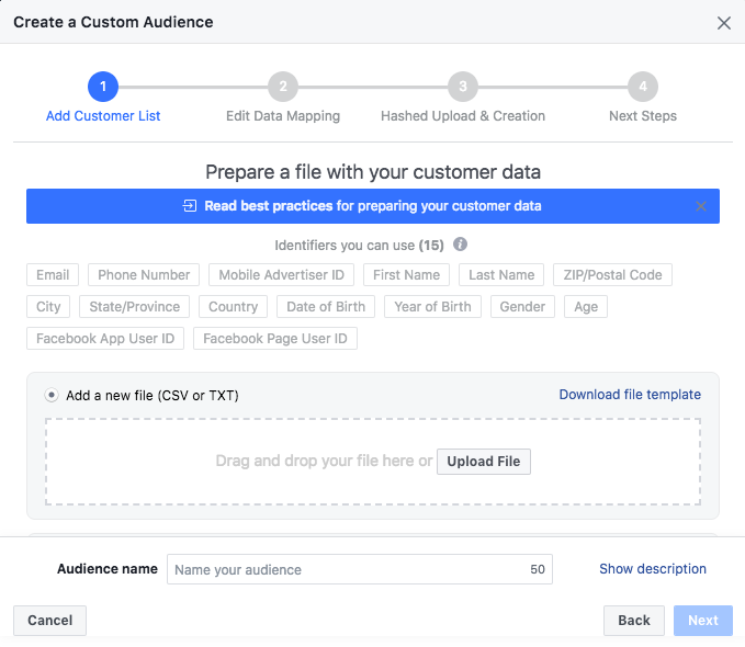 Create Custom Audience, Customer list
