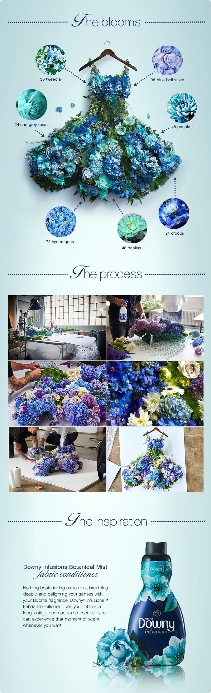 Downy Infusions flower dress behind the scenes.