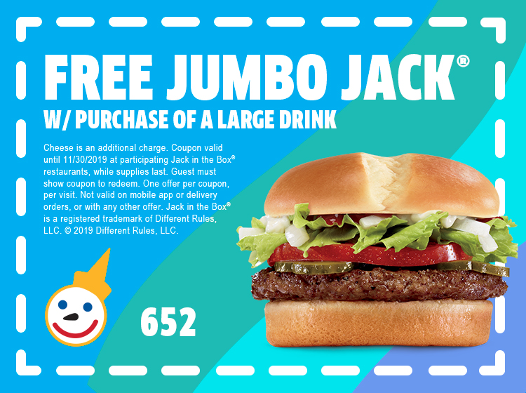 photograph regarding Deal a Meal Cards Printable titled Jack In just The Box - Discount codes