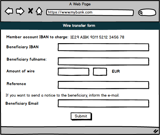 Wire transfer, fields: IBAN, Fullname, amount of wire, reference, beneficiary email