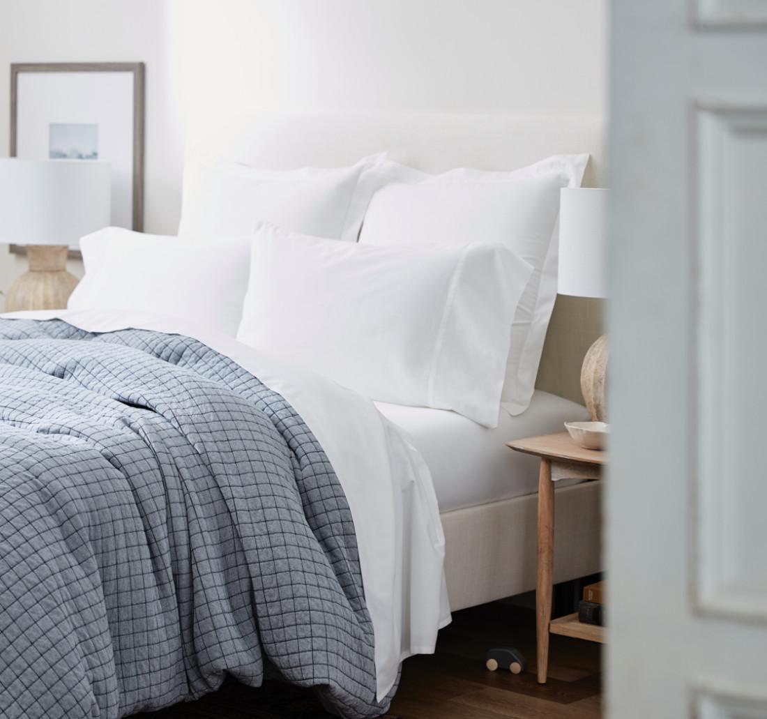 Blue Matelasse Bed