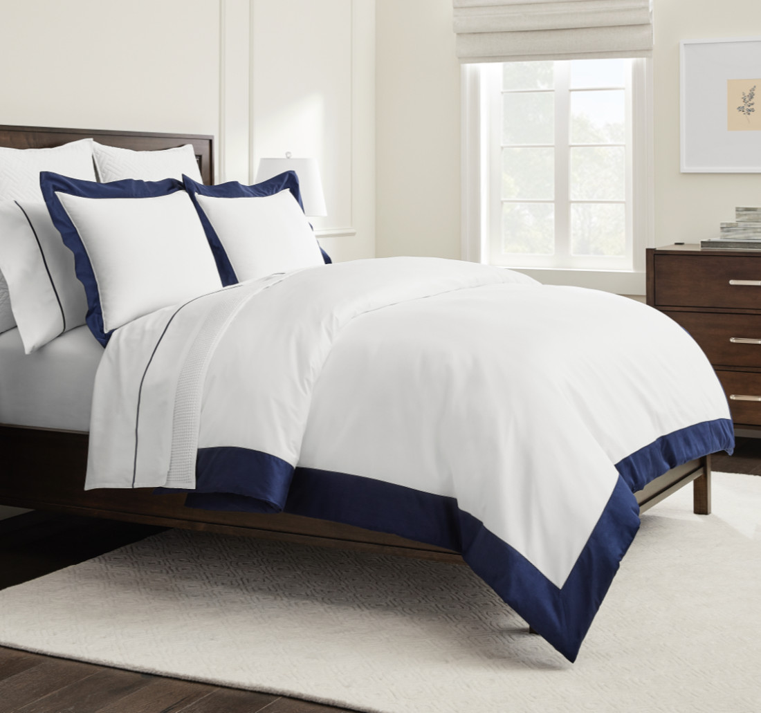 White/Navy Colorblock Bed