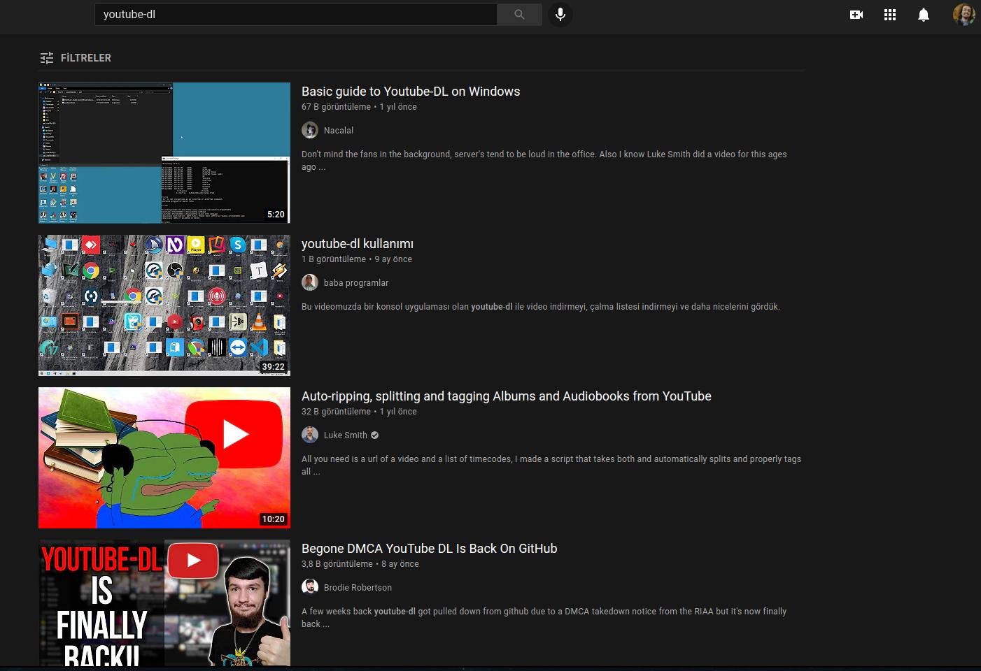 youtube-dl-videoları