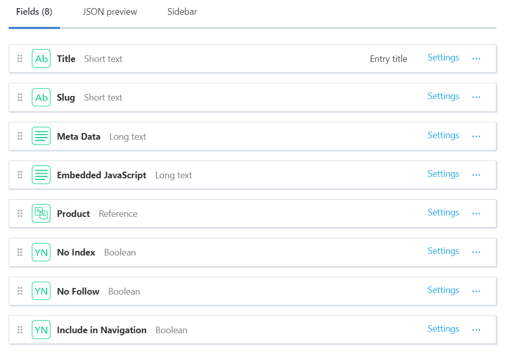 Screenshot of Contentful admin panel that shows the fields of a page content type