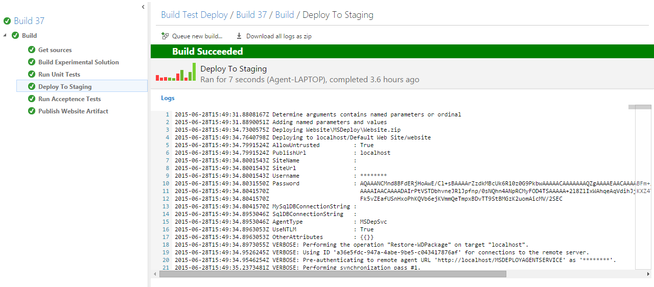 MSDeploy with Visual Studio Online Build VNext